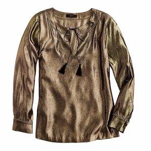J.Crew Silk metallic tunic